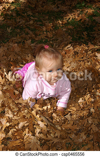Baby Crawling in Leaves - csp0465556