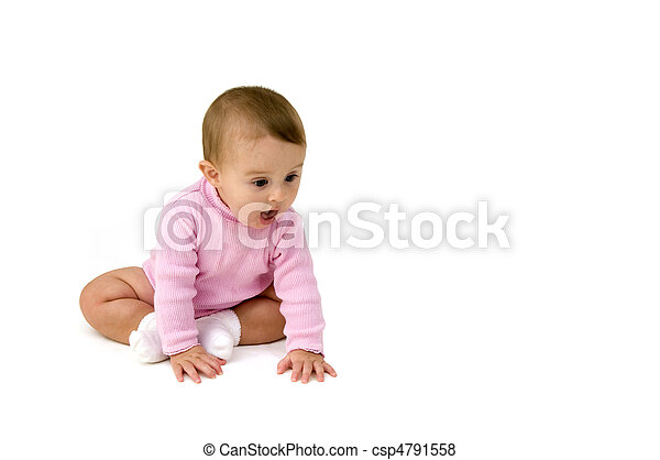 Baby Crawling on White Background - csp4791558