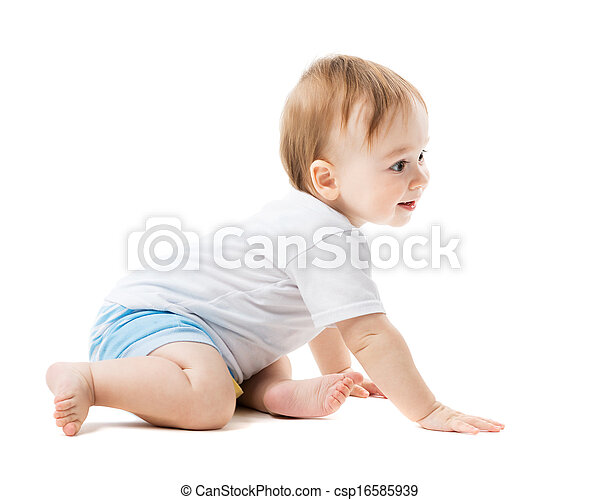 baby crawling with curiosity - csp16585939