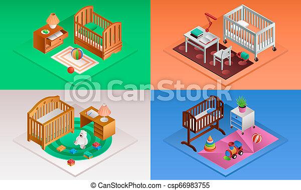 Baby crib banner set, isometric style - csp66983755