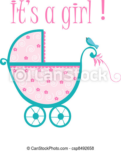 baby crib card to welcome to new baby girl vector search clip art rh canstockphoto com baby crib clip art free Baby Stuff Clip Art
