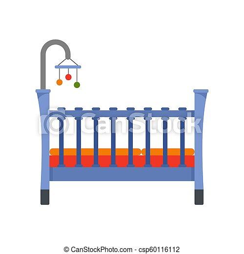 Baby crib icon, flat style - csp60116112