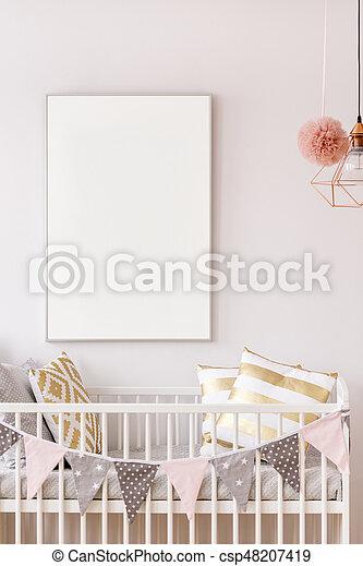 Baby crib with white poster mockup - csp48207419