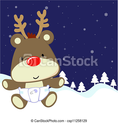 Baby Deer Cartoon Cute With Red Nose And Diaper On Winter