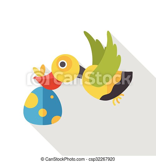 Baby Delivery Stork flat icon - csp32267920