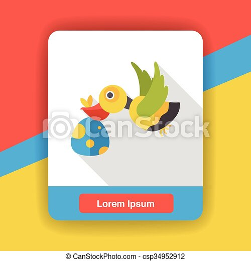 Baby Delivery Stork flat icon - csp34952912