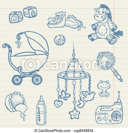 Baby doodles - Hand drawn collection in vector - csp8448834