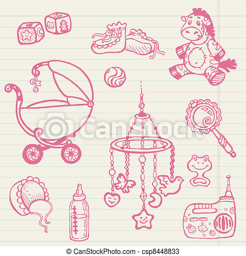 Baby doodles - Hand drawn collection in vector - csp8448833