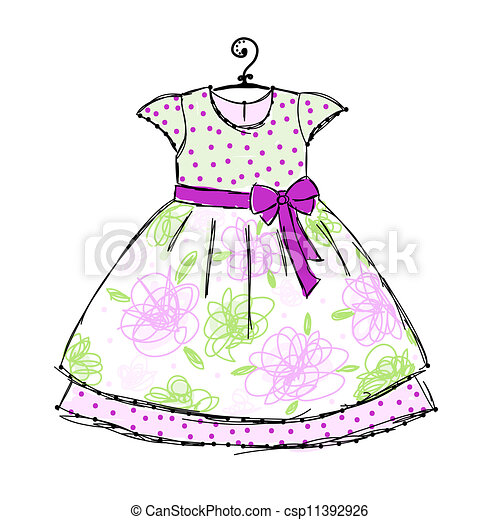 Baby dress on hangers for your design - csp11392926