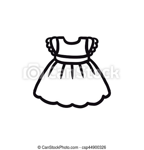 Clipart of baby black and white dress