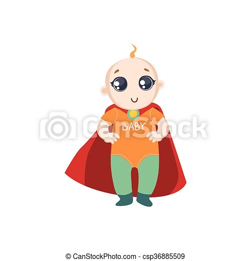Baby Dressed As Superhero With Red Cape - csp36885509