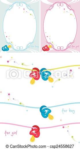 Baby dummy and birthday postcard - csp24558627