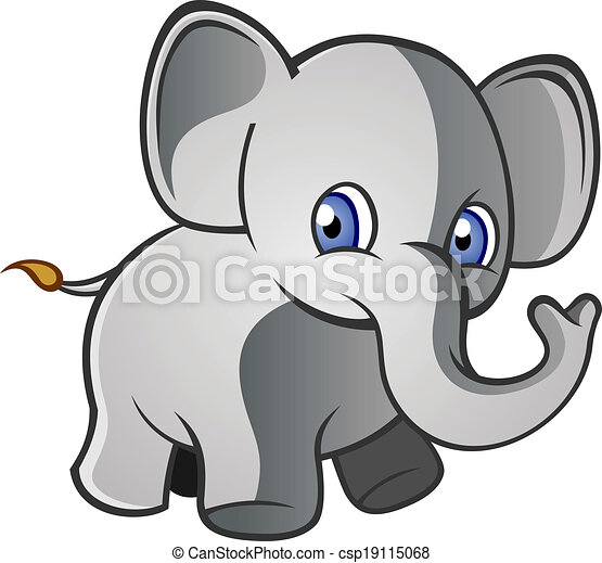 baby elephant cartoon character a baby elephant with big ears and a rh canstockphoto com elephant cartoon characters pictures elephant cartoon character names