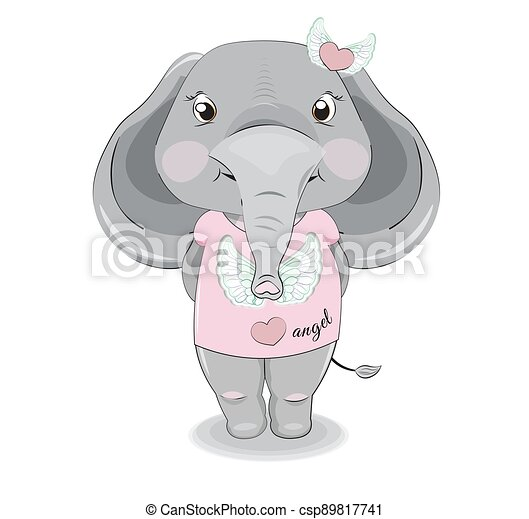 baby elephant girl in pink Graphic Tee - csp89817741
