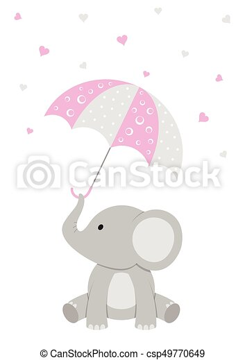 Baby Elephant   Pink Baby Shower   Csp49770649