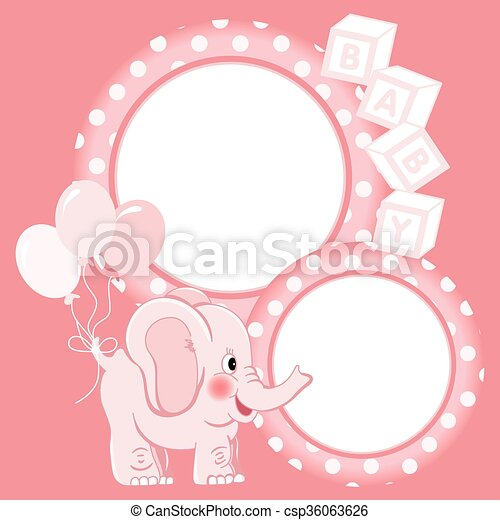 Baby elephant pink scrapbook frame. Scalable vectorial image ...