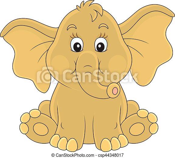Baby elephant. Vector illustration of a small elephant ...
