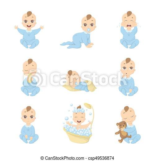 baby emoji set funny cute cartoon character on white background