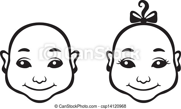 Contour Line Drawing Face : Image of black and white contour cartoon baby face clip art vector