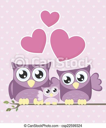 baby family owls - csp22599324