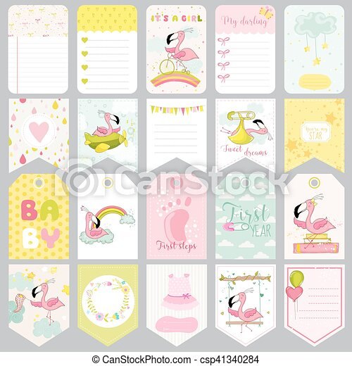 Baby Flamingo Tags Baby Banners Scrapbook Labels Cute Cards