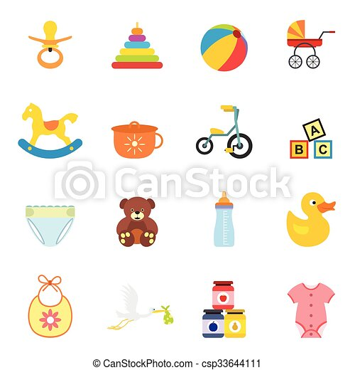 Baby flat icon set - csp33644111