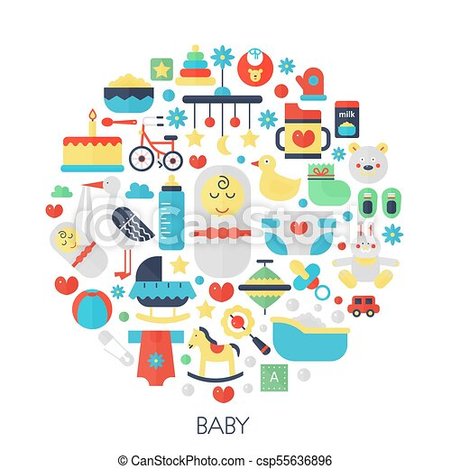 Baby flat infographics icons in circle - color concept illustration for little baby kid cover, emblem, template. - csp55636896