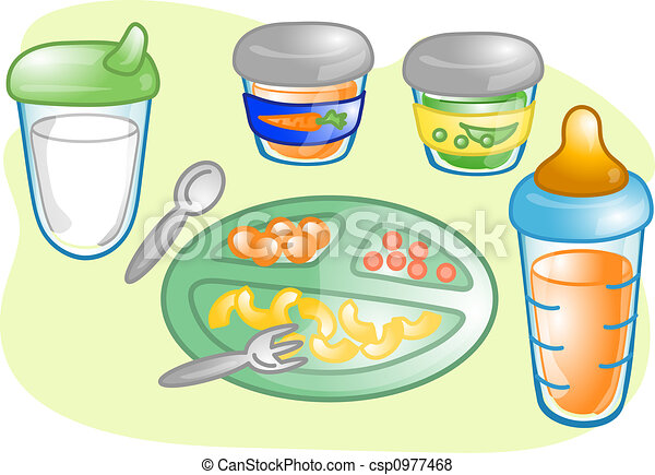 baby food set illustration illustrations of different baby stock rh canstockphoto com Baby Clip Art baby food jar clipart