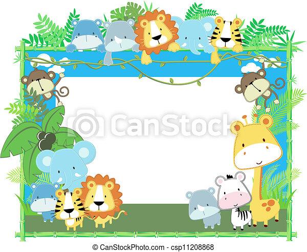 baby, frame, vector, dieren - csp11208868