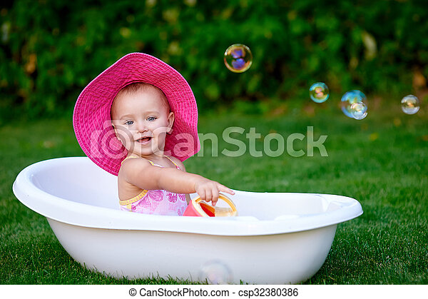 Baby Girl 1 2 Year Old Taking Bath With Soap Foam Outdoors