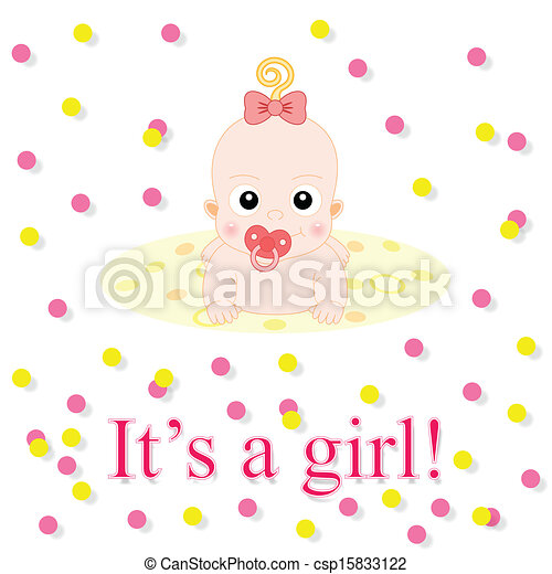 baby girl announcement card baby card its a girl theme with cute