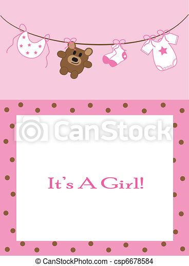 Baby Girl Announcement - csp6678584