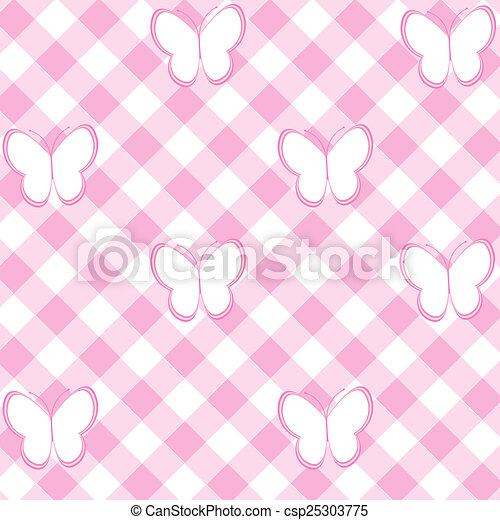 Baby Girl Background With Tablecloth And Butterflies   Csp25303775