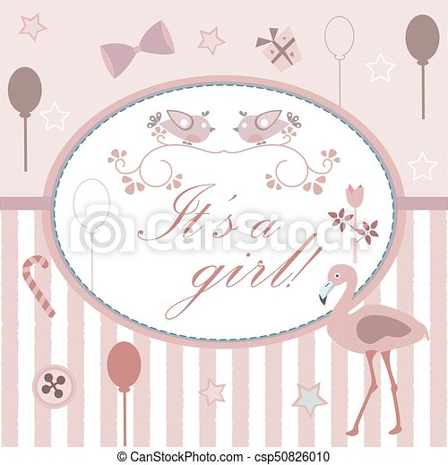 baby girl birth announcement shower invitation card cute pink