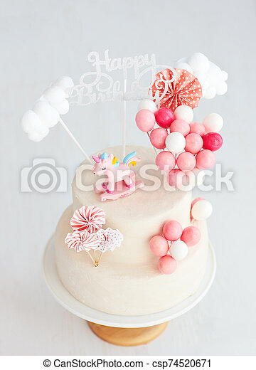 Prime Baby Girl Birthday Cake With Unicorn And Balloons Funny Birthday Cards Online Alyptdamsfinfo