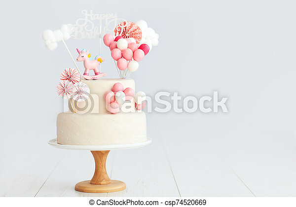 Marvelous Baby Girl Birthday Cake With Unicorn And Balloons Funny Birthday Cards Online Inifofree Goldxyz
