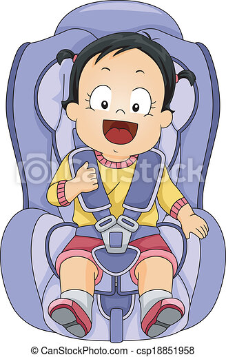 baby girl car seat illustration of a baby girl strapped to a car seat rh canstockphoto com car seat belt clipart free car seat clipart