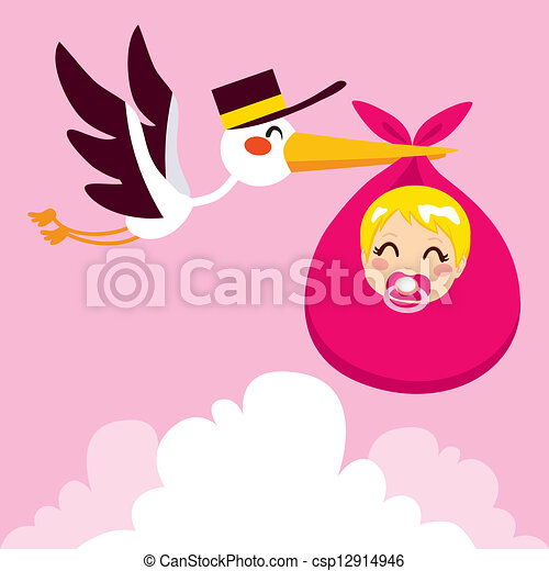 Baby Girl Delivery Stork - csp12914946