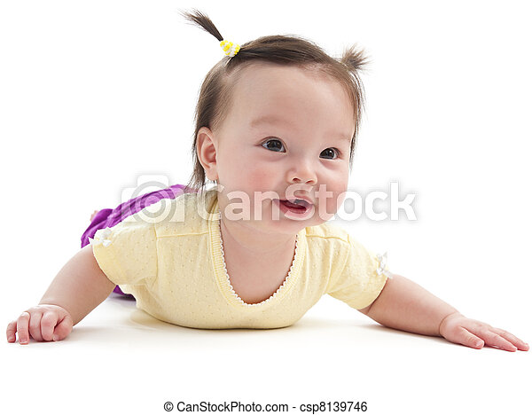 Baby girl doing tummy time - csp8139746