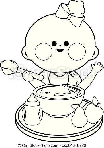 Baby Girl Eating Food Vector Black And White Coloring Page A Baby Girl Is Having Her Breakfast Of Cereal And Fruits Vector