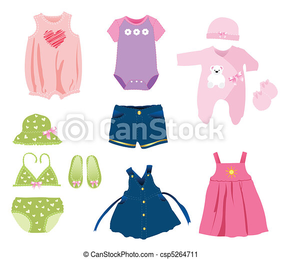 Baby girl elements, clothes - csp5264711