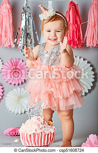 Admirable Baby Girl First Birthday Cake Smash Photo Shoot Little Baby Girl Funny Birthday Cards Online Unhofree Goldxyz