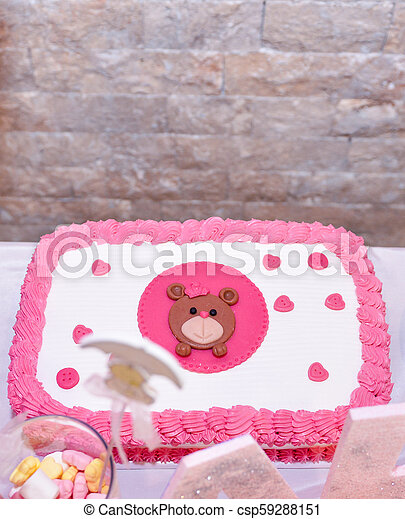 Enjoyable Baby Girl First Birthday Cake With Teddy Bear Image Of A Birthday Cards Printable Giouspongecafe Filternl