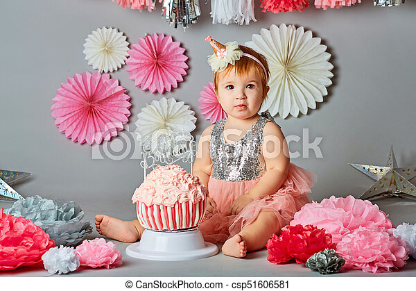 Marvelous Baby Girl First Birthday With Smash The Cake Idea Personalised Birthday Cards Veneteletsinfo
