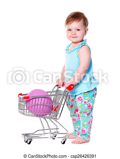 493fa5086 Baby girl holding shopping trolley with easter egg in it.