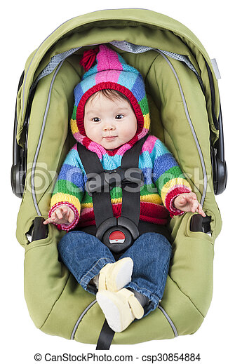 Baby girl in car seat isolated on white - csp30854884