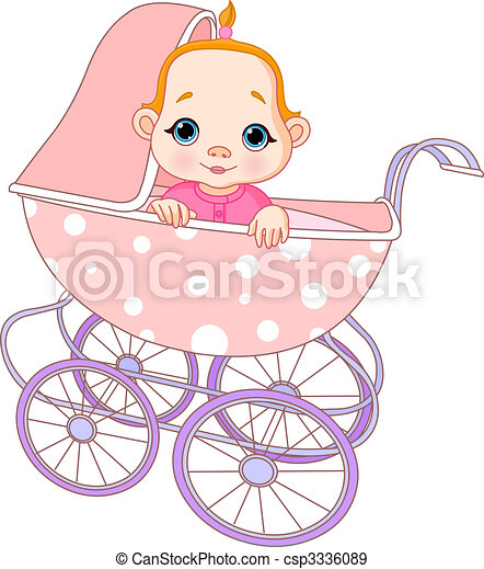 Baby girl in carriage - csp3336089