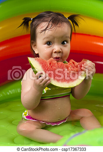 Baby girl in eating watermelon - csp17367333