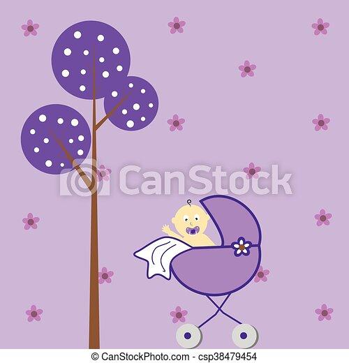 Baby Girl in Stroller - csp38479454