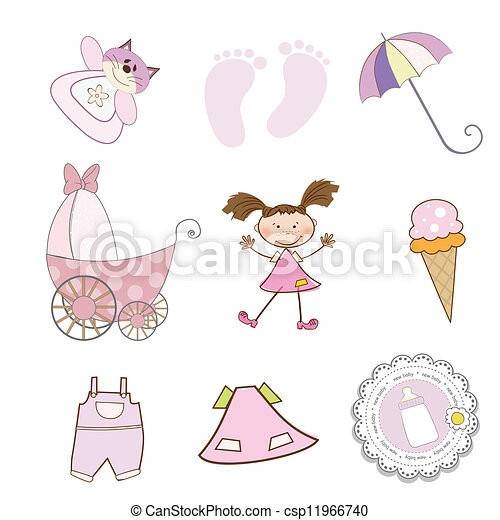 baby girl items set in vector format isolated on white background - csp11966740